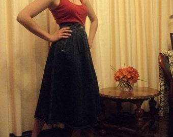 Vintage  90s Country Road Made in  Australia High Waisted Long Denim Skirt