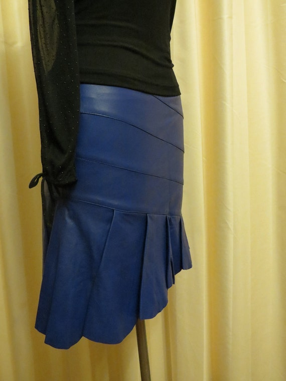 Vintage Blue Leather Skirt Extra Small