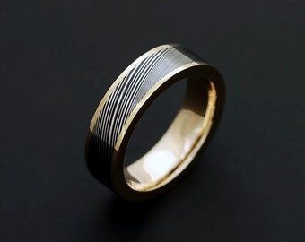 Genuine stainless Damascus Steel and 18K Yellow Gold Women Ring PD44
