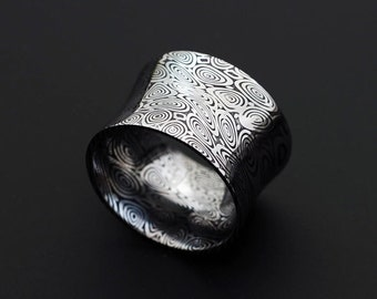 Genuine stainless Damascus Steel Mens Concave Ring - Width 14mm PD46