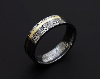 Genuine stainless Damascus Steel and 18K Yellow Gold Mens Ring PD49