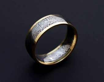 Genuine stainless Damascus Steel and 18K Yellow Gold Mens Ring PD50