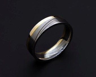Genuine stainless Damascus Steel and 18K Yellow Gold Mens Ring PD53