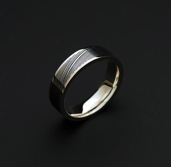 Genuine stainless Damascus Steel and 18K White Gold Women Ring PD32