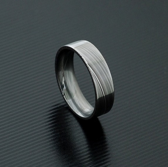 genuine stainless damascus steel mens ring pd26