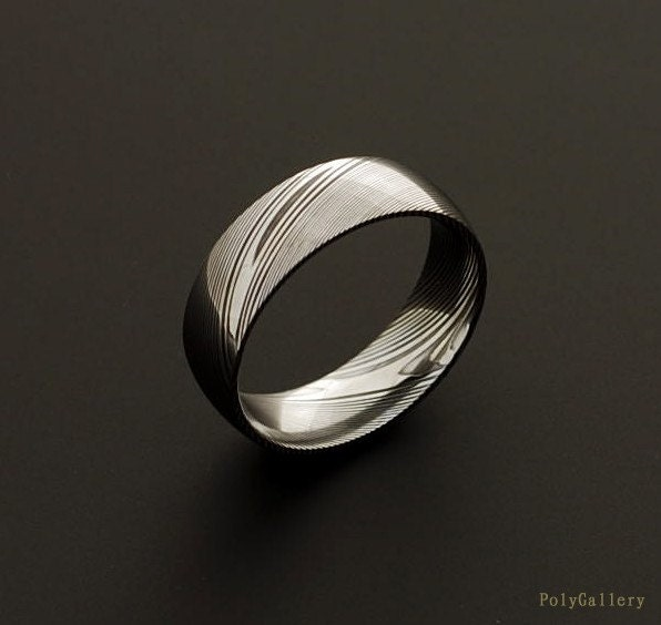 Genuine stainless Damascus Steel Mens Ring PD27