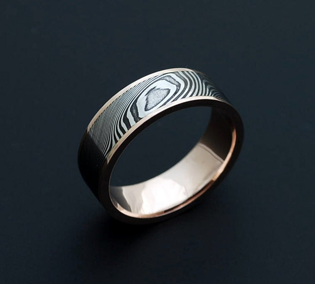 Genuine Stainless Damascus Steel And Rose Gold Mens Ring Pd43