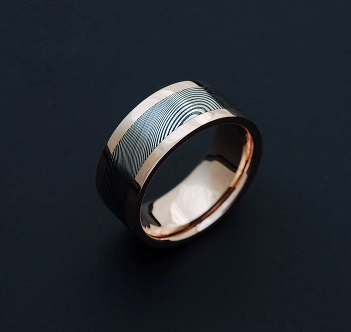 Genuine Stainless Damascus Steel And Rose Gold Mens Ring