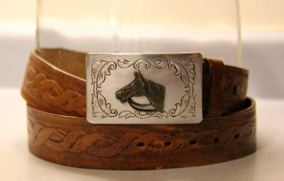Tooled belt with horse head buckle