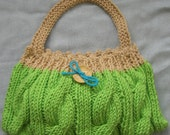 Chunky cable knitted lime green and butterscotch little bag with wooden flower button - SEVEN colour choices