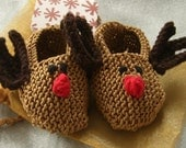 Baby holiday gift set - brown cotton reindeer booties, matching gift bag and snowflake gift card - LAST TWO PAIRS