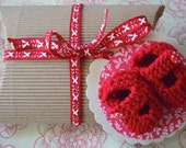 Baby gift packaging set - pillow box, ribbon and matching hand knitted booties gift tag - fire engine red