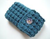 Teal blue Blackberry Curve case/ cozy/ hand knitted cover with mother of pearl flower button