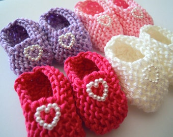 Girl baby shower decorations: 4 pairs of little hand knitted baby mini booties with pearlised hearts - pink lilac white 2 inches