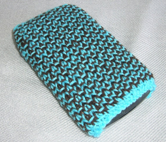SALE: Blackberry curve turquoise/ brown hand knit case/ cozy - ready to ship