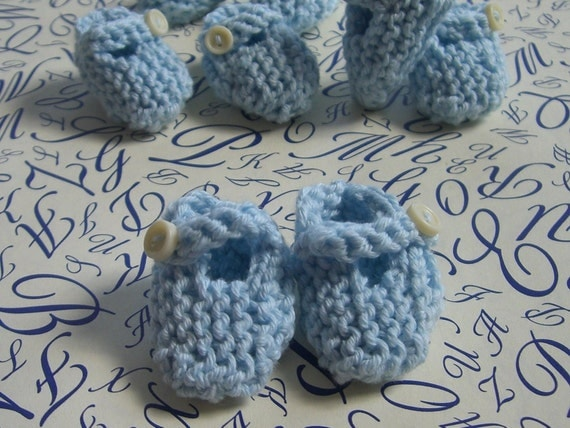 Boy baby shower decorations: 4 pairs of teeny tiny little hand knitted powder baby blue mini booties - 1.25 inches