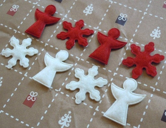 Cute felt angels and snowflakes - holly red and cream - set of 8 pieces
