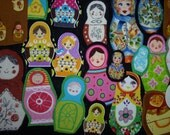 30 russian doll fabric applique