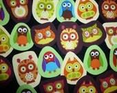 15 owls fabric appliques