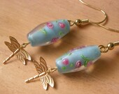 Lampwork Glass Earrings with Brass - sky blue lampwork glass with little pink flowers, dragonfly charms -  SPRING GARDEN