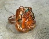 Mixed Media Art Ring - Ceramic and Copper, Handpainted, Orange Tones, Oaak - AEGEAN COLLECTION - KOS 2