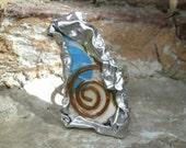 Mixed Media Art Ring - Ceramic, Copper, Metal Sheet - AEGEAN COLLECTION - PATMOS 1