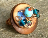 Mixed Media Art Ring, Wood Glass Copper and Polymer Clay - Statement Ring - OOAK - SEA GODDESS