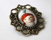 SALE Lady with a bird - brooch