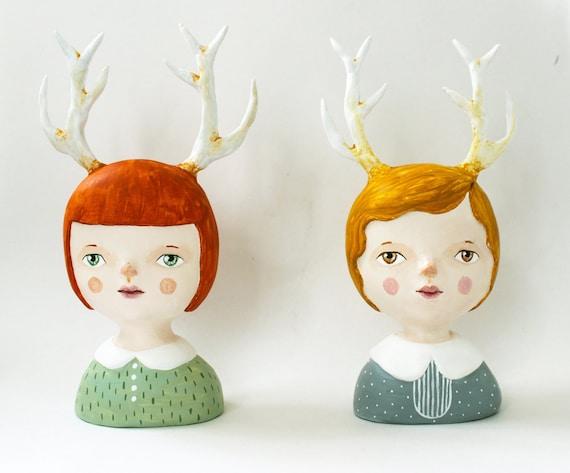 Antler girl - Clay bust - OOAK  figurine - Matilda