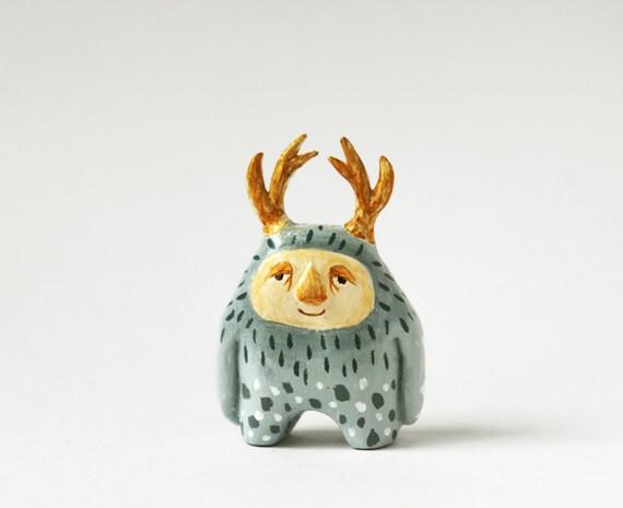 Miniature monster -  paper clay wild thing sculpture  - Sendak inspired