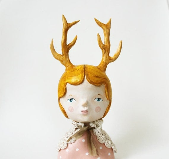 Human animal figurine - Woodland deer art doll - Paper clay sculpture - Teresa