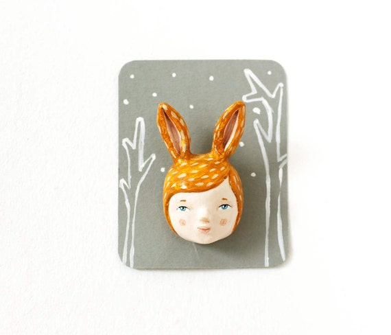 Hare girl face brooch - Woodland creature pin - paper clay brooch