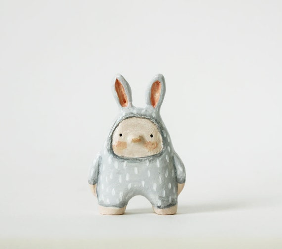 FREE SHIPPING Bunny boy - Paper clay miniature - Woodland art toy