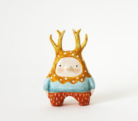 Deer boy - Little figurine - Miniature paper clay character