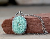 Reserved for Tess - Mint glass flowers Necklace in Sterling Silver