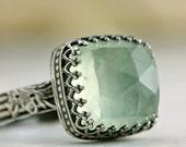 Prehnite Cocktail Ring in Sterling Silver