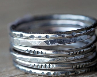 Rustic Textured Sterling Silver Stacking Rings