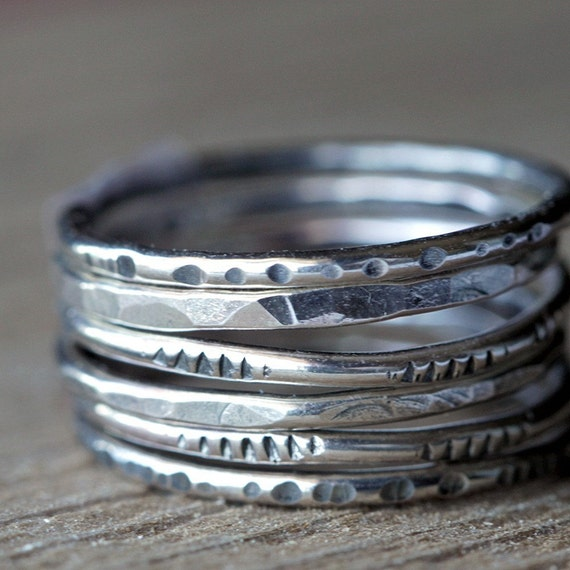 Six Degrees Textured Sterling Silver Stacking Rings