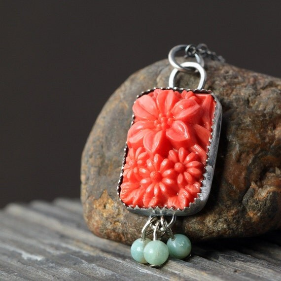 SALE - Coral Focal in Sterling Silver Necklace