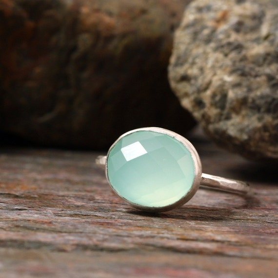 Sterling Silver Ring with Aqua Chalcedony