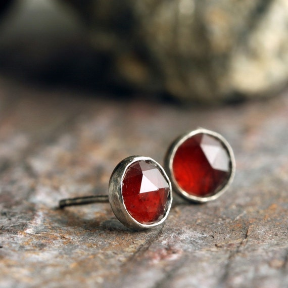 READY TO SHIP - Sterling Silver Earrings with Crimson Garnet