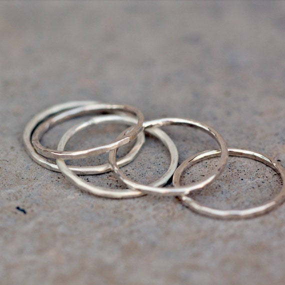 Silver Stacking Ring, Midi Ring, Hammered, Sterling Silver