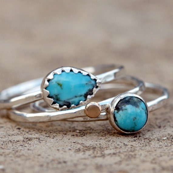 Sterling and Turquoise Stacking Rings