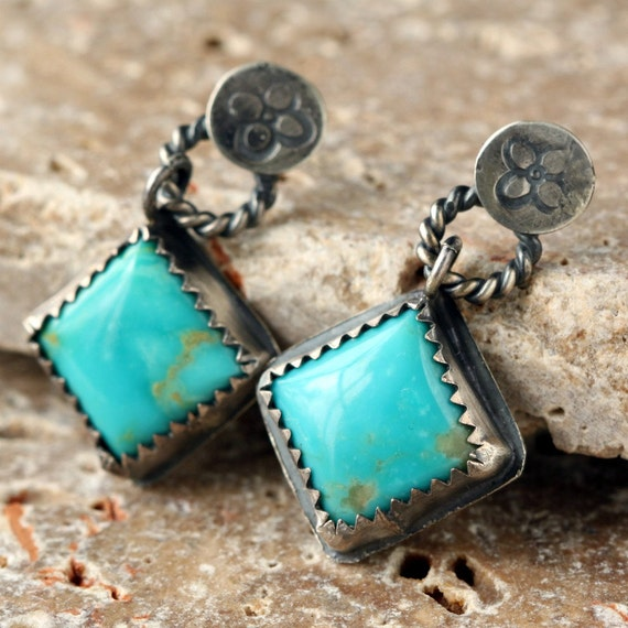 Rustic Sterling Silver and Turquoise Earrings