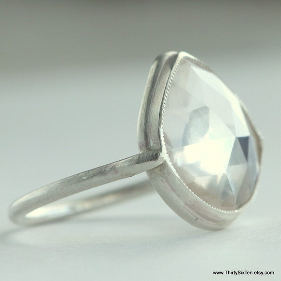 Sterling Silver and White Topaz Ring