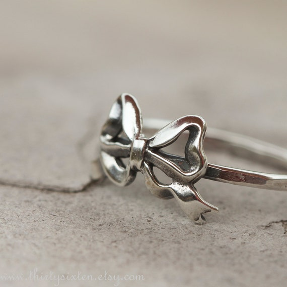 Bow Ring, Sterling Silver Ring, Stacking Ring