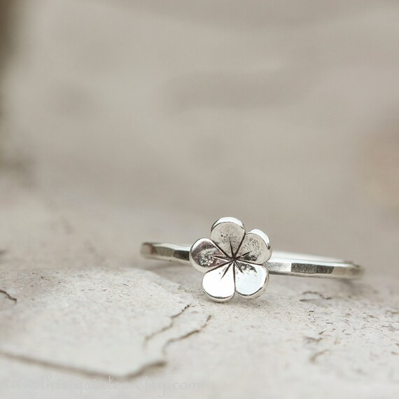 Tiny Stacking Flower Ring Sterling Silver