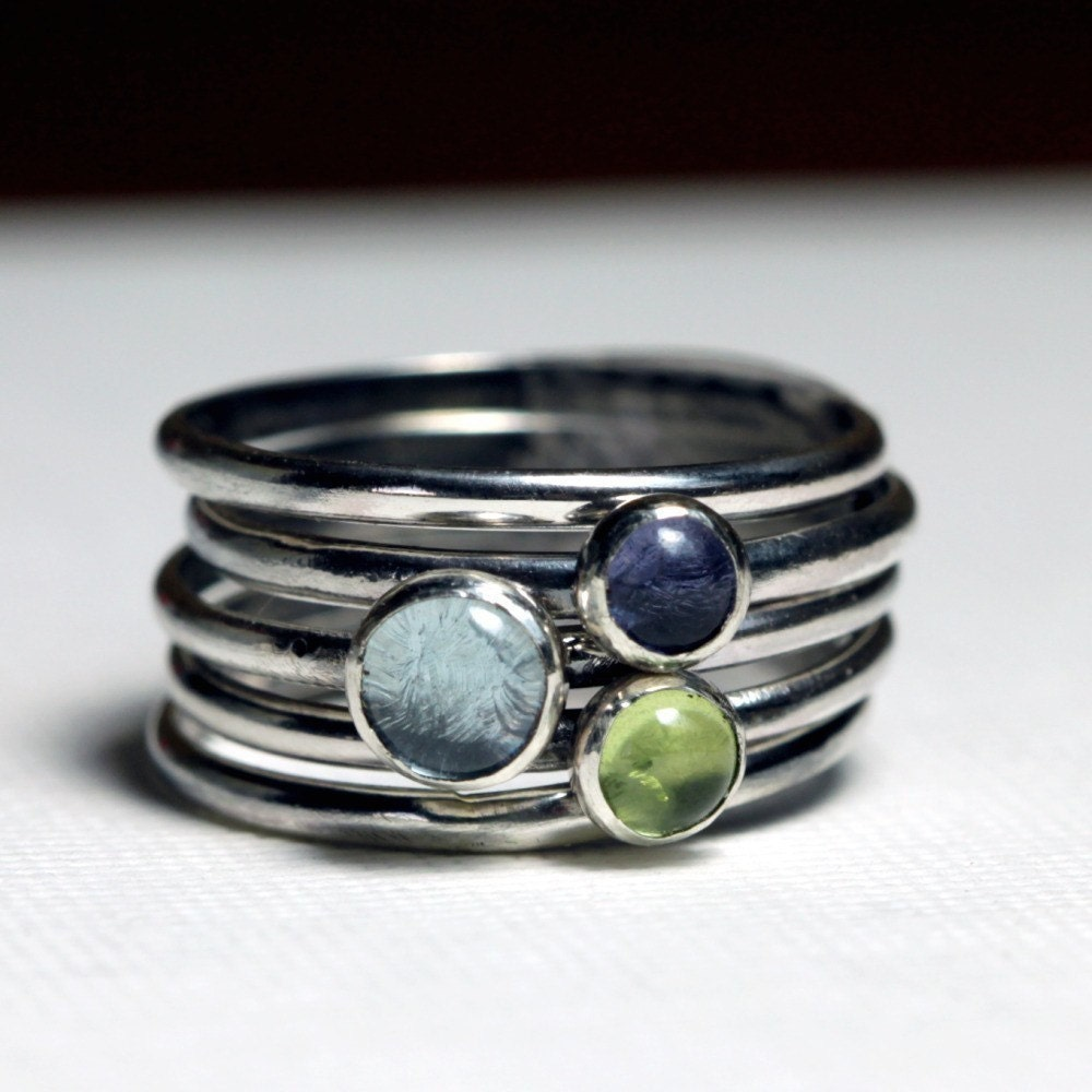 gemstone sterling silver stacking rings
