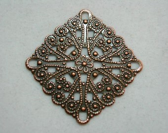 Antiqued Copper Filigree Earring Pendant Drop Finding