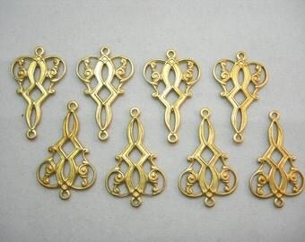 Raw Brass Drops Earring Findings - Victorian / Art Deco - 8